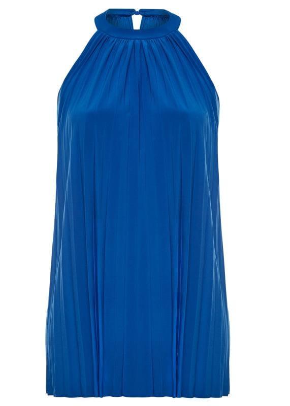 Tuniques Grande Taille PRASLIN Cobalt Blue Pleated Halterneck Tunic Top