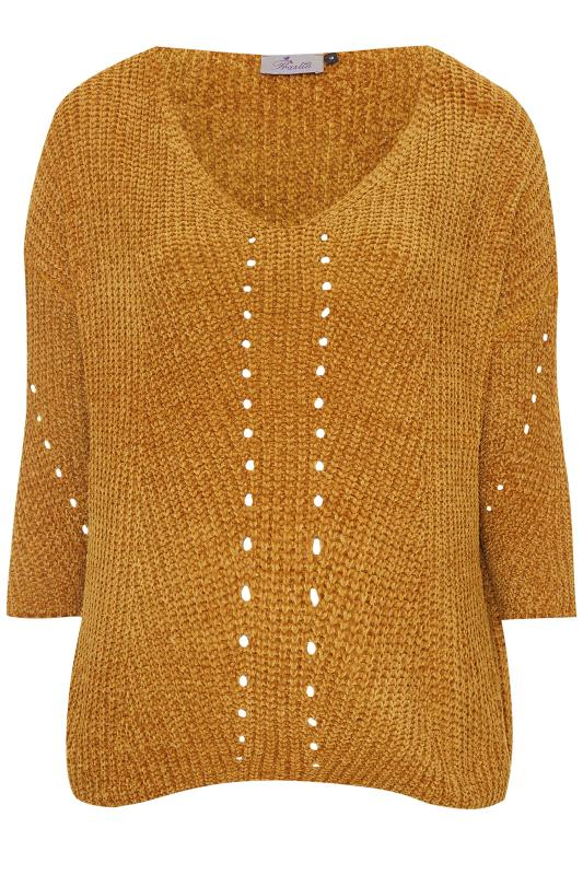 Plus Size Jumpers PRASLIN Gold Chenille Knitted Jumper