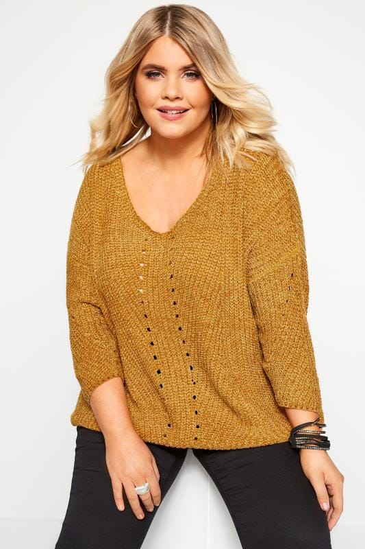 Plus Size Sweaters PRASLIN Gold Chenille Knitted Jumper