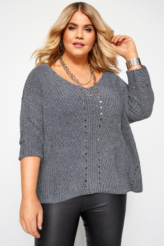 Plus Size Jumpers PRASLIN Grey Chenille Knitted Jumper