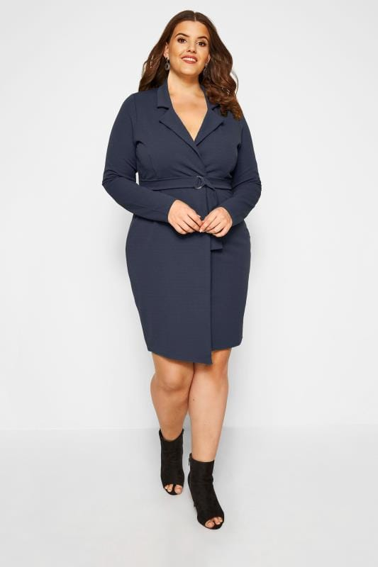 PRASLIN Navy Belted Blazer Dress