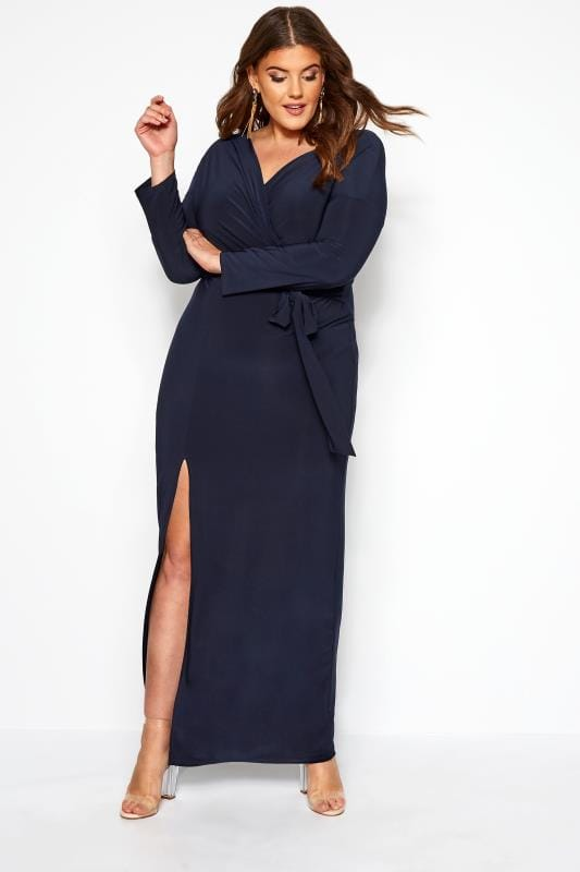 Plus Size Maxi Dresses PRASLIN Navy Draped Maxi Dress