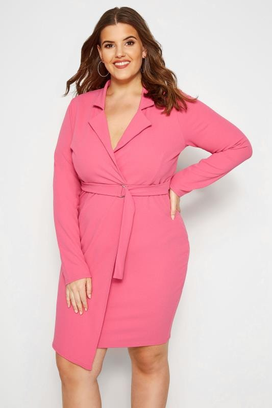 Plus Size Going Out Dresses PRASLIN Pink Belted Blazer Dress