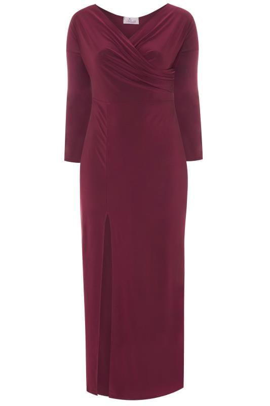Plus Size Maxi Dresses PRASLIN Purple Draped Maxi Dress