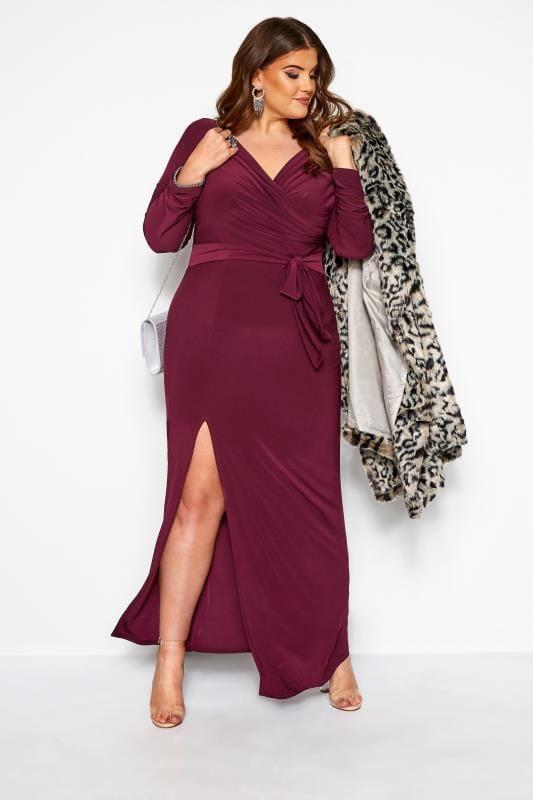 PRASLIN Purple Draped Maxi Dress
