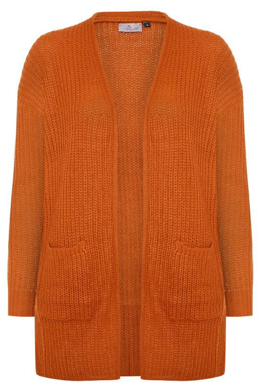 Plus Size Cardigans PRASLIN Rust Longline Knitted Cardigan