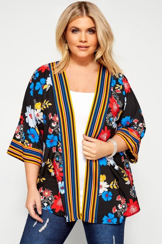 Plus Size Jackets Black Bright Floral Print Cover Up