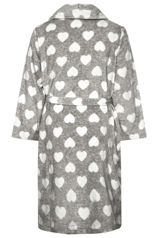 Grey Heart Print Dressing Gown