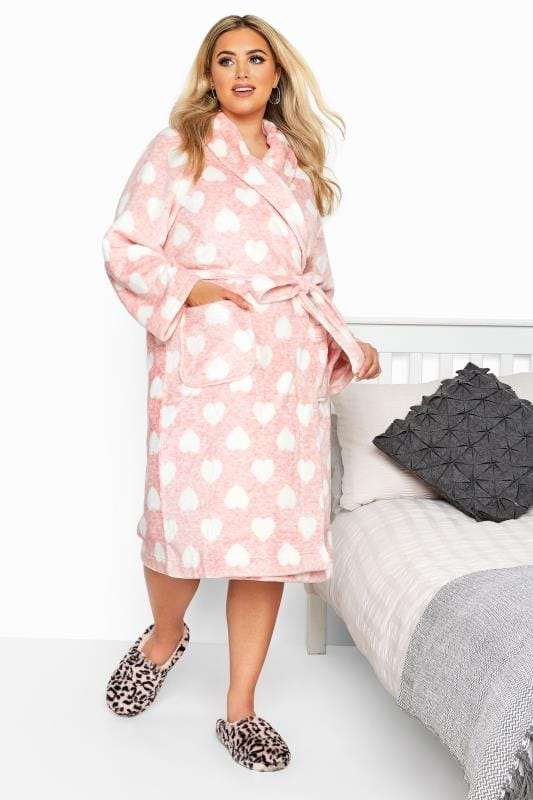 Plus Size Dressing Gowns Pink Heart Print Dressing Gown