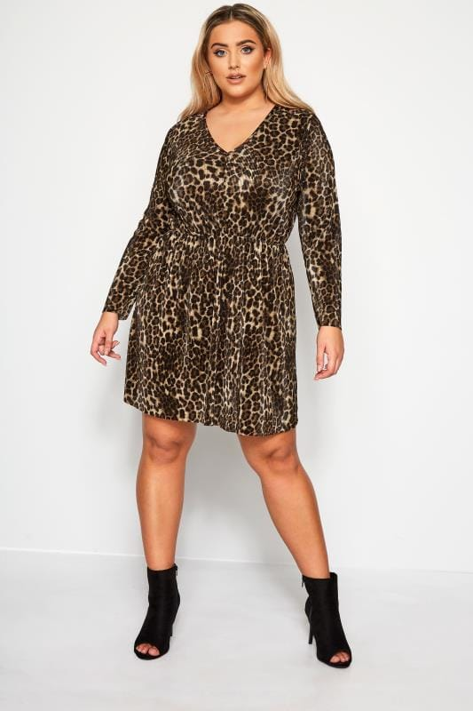 Plus Size Party Dresses LIMITED COLLECTION Brown Animal Print Plisse Dress