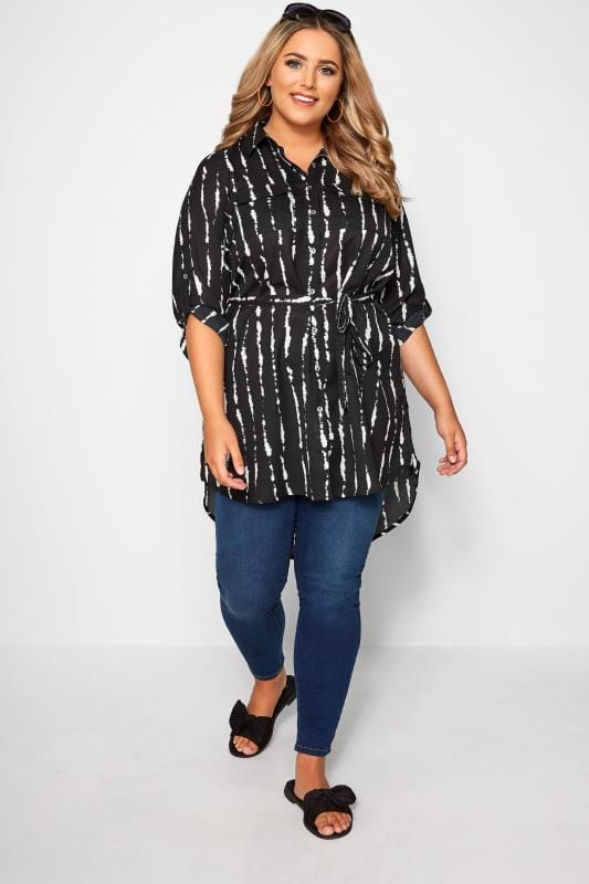 Black & White Abstract Stripe Longline Shirt