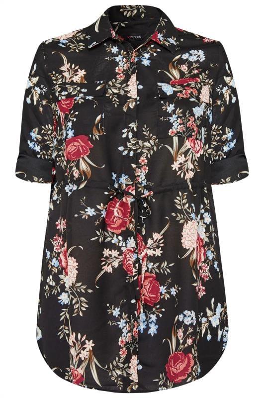 Lang geschnittene Bluse mit Blumen - Schwarz