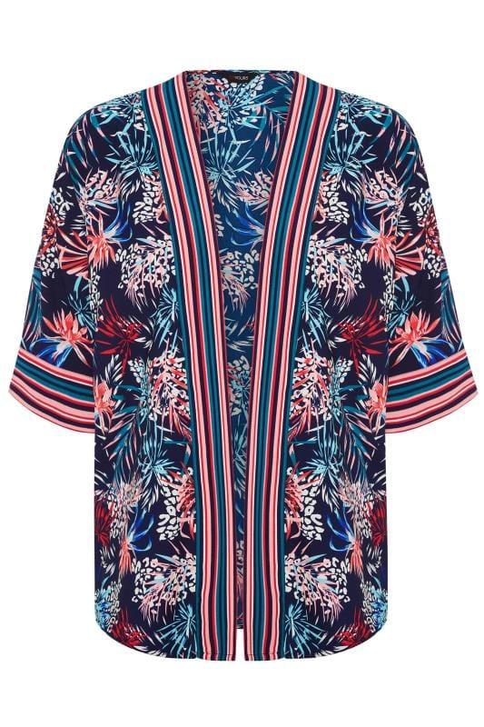 Plus Size Kimonos Navy Tropical Palm Print Kimono
