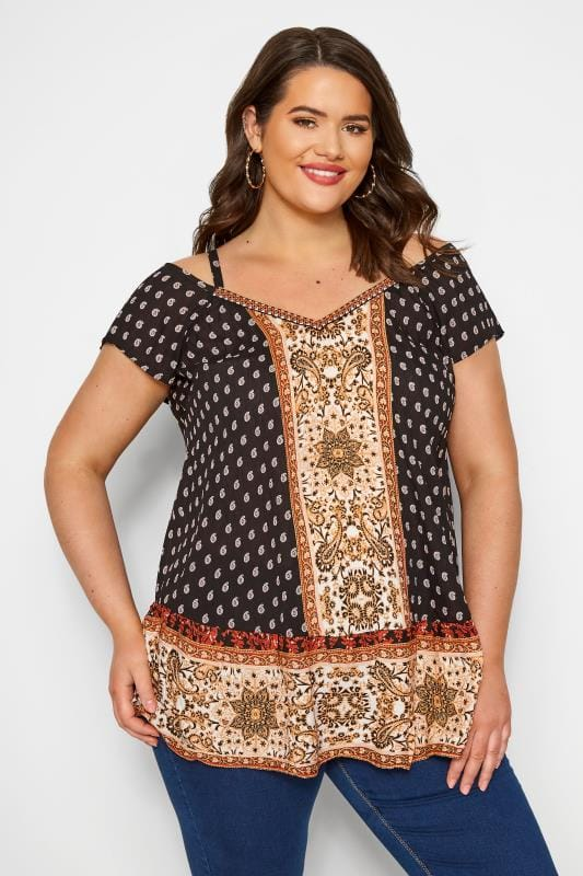 Plus Size Bardot & Cold Shoulder Tops Black Paisley Print Cold Shoulder Top