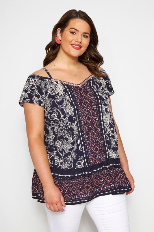 Plus Size Bardot & Cold Shoulder Tops Navy Mixed Print Cold Shoulder Top
