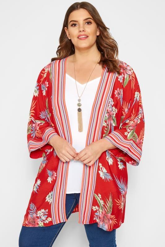 Большие размеры | Кимоно и жилеты Красное кимоно в полоску с тропическим принтом