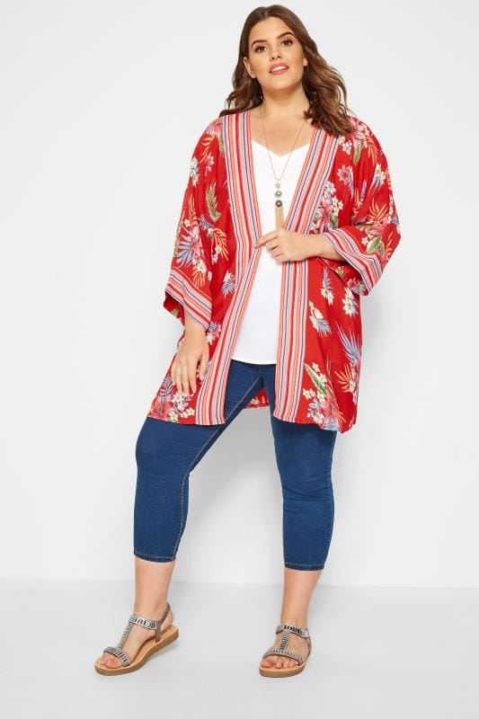 Red Tropical & Striped Kimono