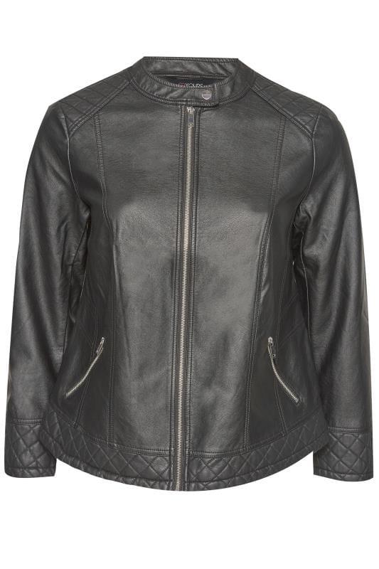 Black PU Zip Up Leather Jacket
