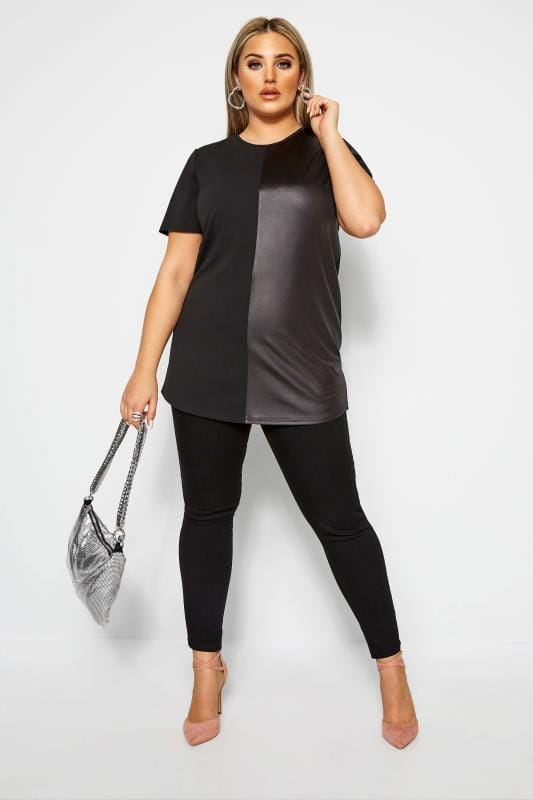 Plus Size Longline Tops LIMITED COLLECTION Black Leather Look Contrast Top