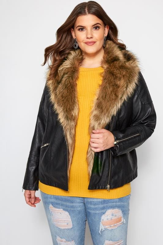 Plus Size Leather Look Jackets Black Faux Leather & Fur Jacket