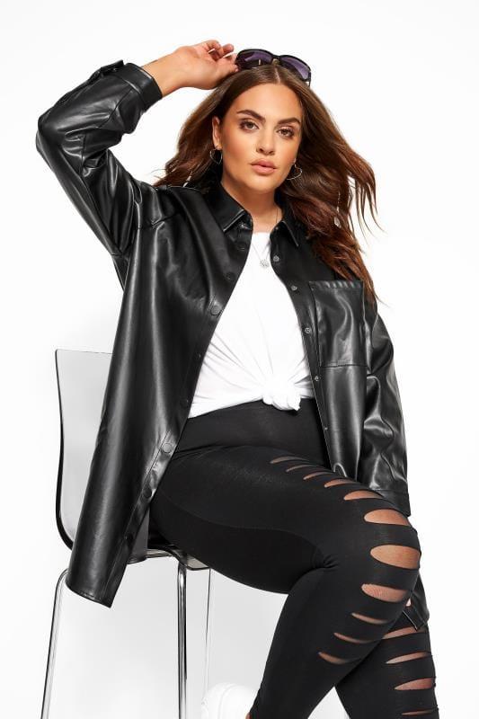 Plus Size Shirts Black PU Leather Look Shirt