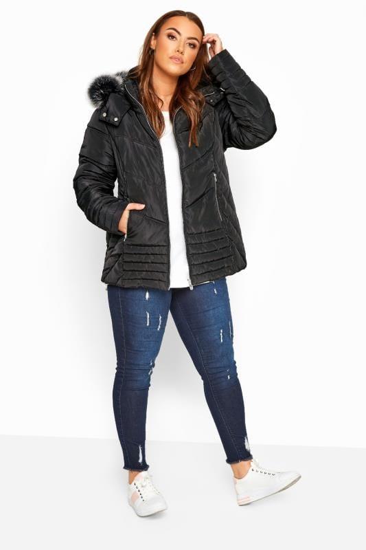 Black PU Trim Panelled Puffer Jacket