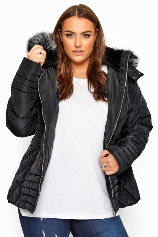 Plus Size Puffer & Quilted Jackets Black PU Trim Panelled Puffer Jacket