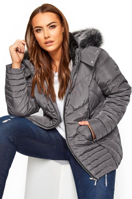 Plus Size Puffer & Quilted Jackets Grey PU Trim Panelled Puffer Coat
