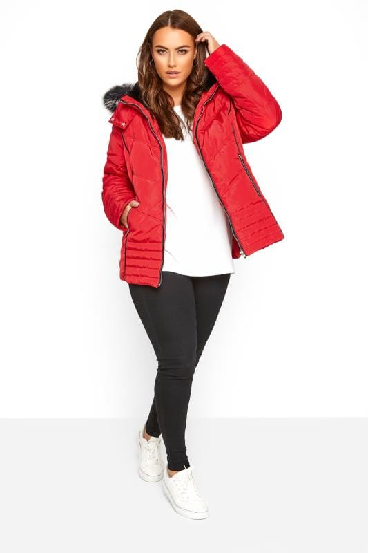 Red PU Trim Panelled Puffer Coat