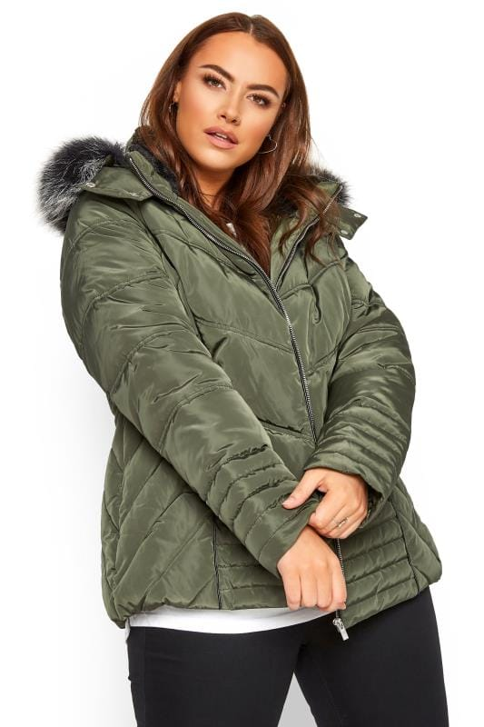 Plus Size Puffer & Quilted Jackets Khaki Green PU Trim Panelled Puffer Coat