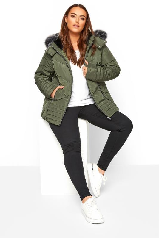 Khaki Green PU Trim Panelled Puffer Coat