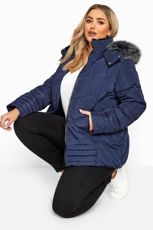 Plus Size Puffer & Quilted Jackets Navy PU Trim Panelled Puffer Jacket