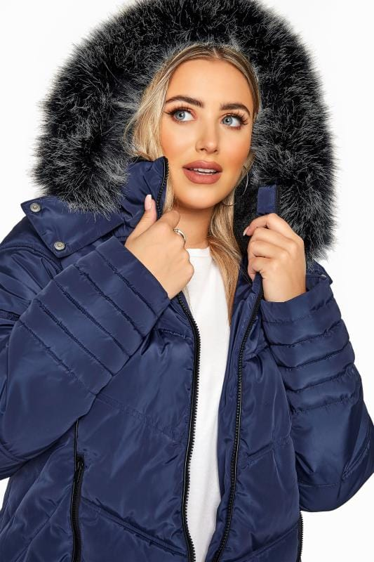 Navy PU Trim Panelled Puffer Jacket