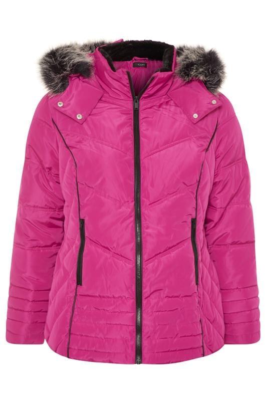 Pink PU Panelled Puffer Jacket