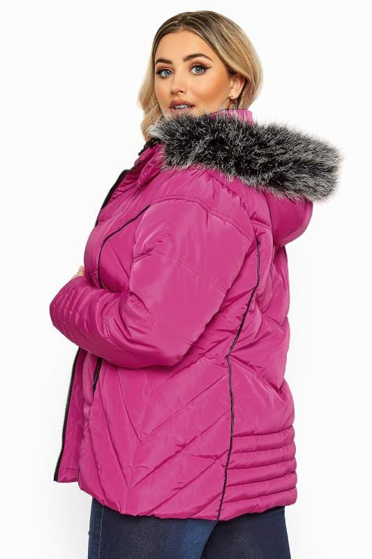 Plus Size Puffer & Quilted Jackets Pink PU Panelled Puffer Coat