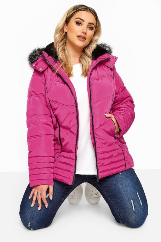 Plus Size Puffer & Quilted Jackets Pink PU Panelled Puffer Jacket