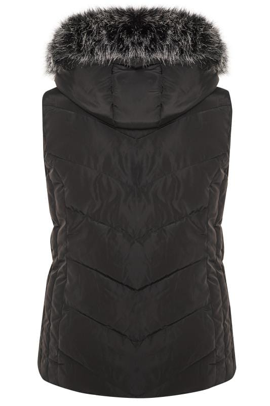 Black Quilted Faux Fur Trim Gilet