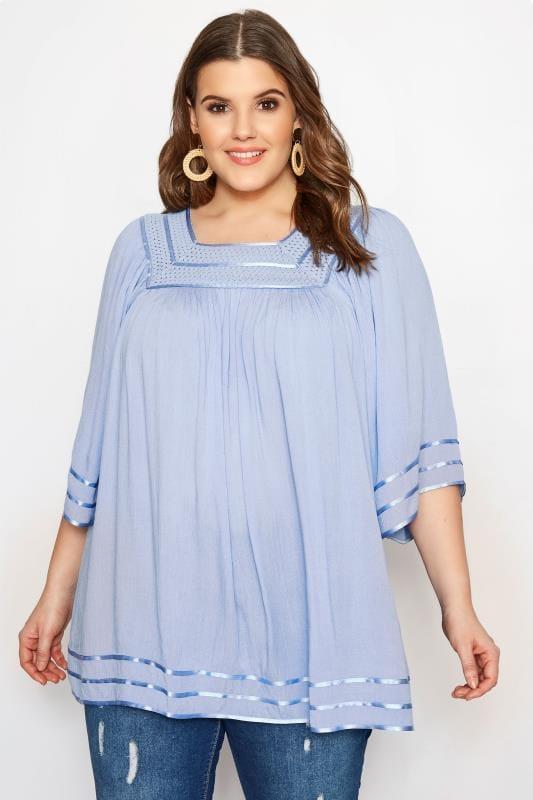 Pale Blue Crinkle Crochet Top