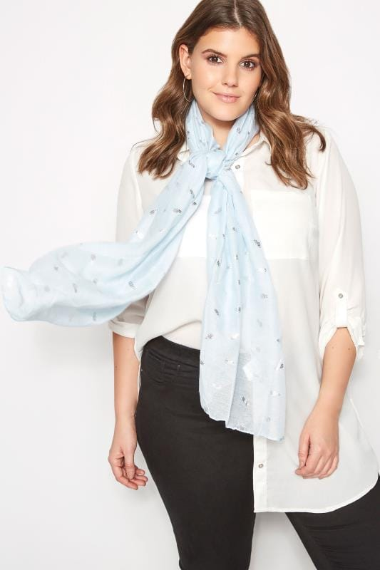 Plus Size Scarves Pale Blue Pineapple Scarf