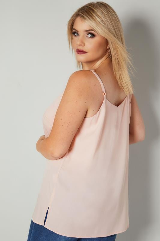 Pale Pink Woven Cami Top With Side Splits
