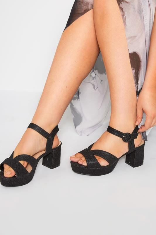 Wide Fit Heels Black Glitter Platform Heeled Sandals In Extra Wide Fit