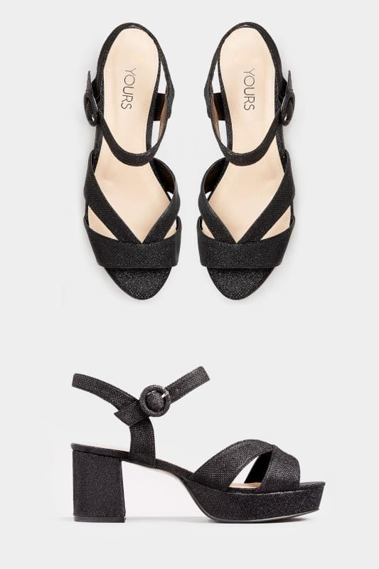 Black Glitter Platform Heeled Sandals In Extra Wide Fit