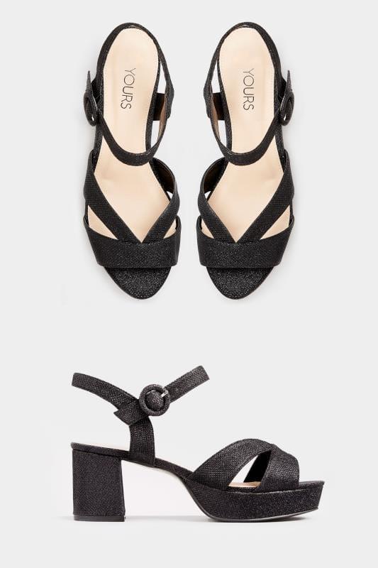 Black Glitter Platform Heeled Sandals In EEE Fit