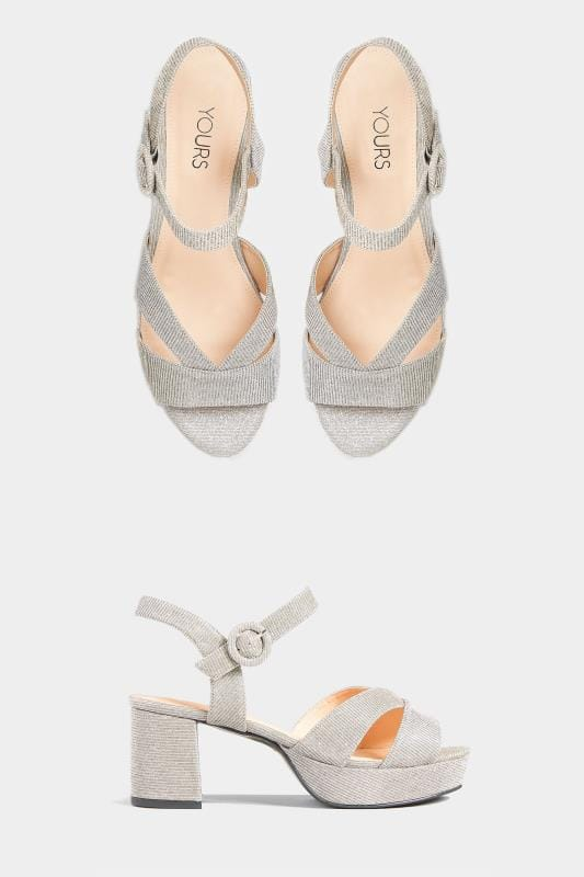 Silver Glitter Platform Heeled Sandals In Extra Wide Fit
