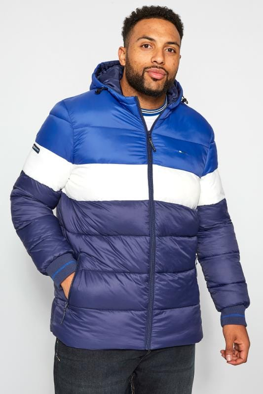 Plus Size Coats BadRhino Navy, Blue & White Padded Coat