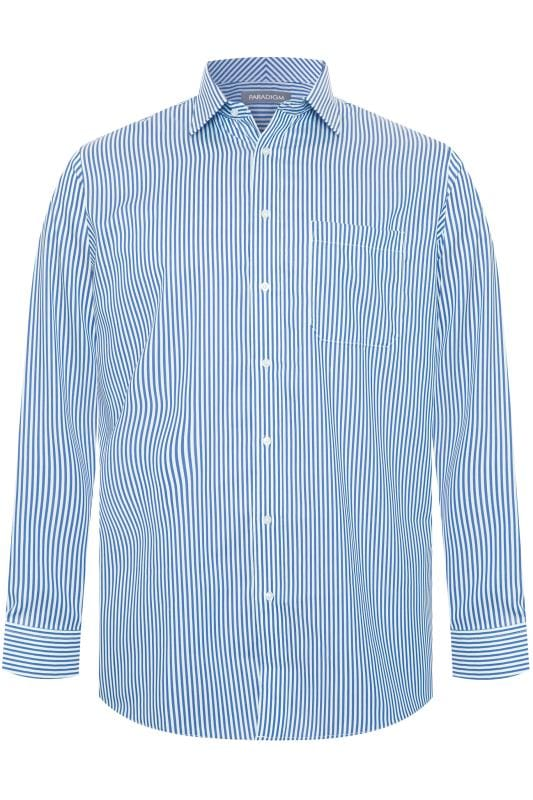 Men's Gifts DOUBLE TWO Blue Stripe Non-Iron Luxury Long Sleeve Shirt