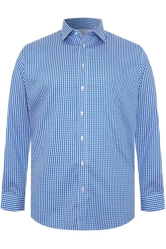 Plus Size Bags & Purses DOUBLE TWO Blue Gingham Check Non-Iron Luxury Long Sleeve Shirt