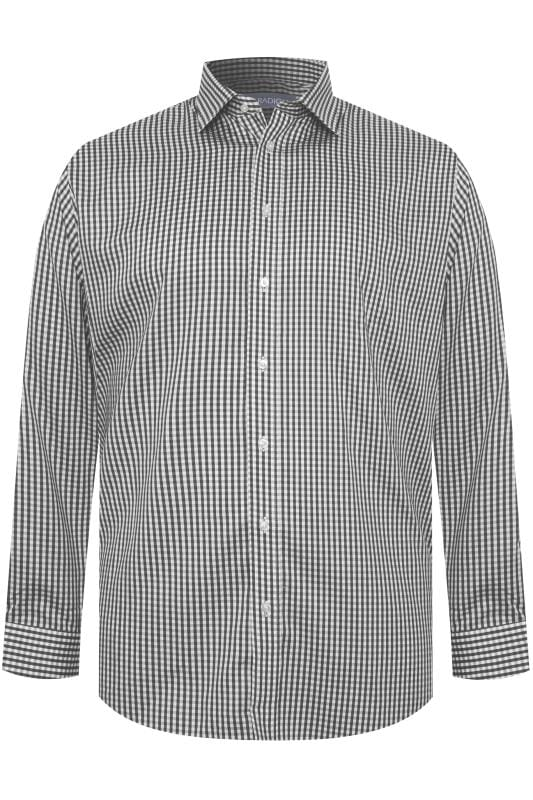 Smart Shirts dla puszystych DOUBLE TWO Charcoal Grey Gingham Check Non-Iron Luxury Long Sleeve Shirt