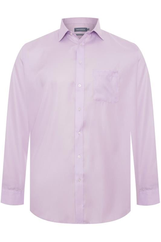 Men's Smart Shirts DOUBLE TWO Lilac Non-Iron Luxury Long Sleeve Shirt