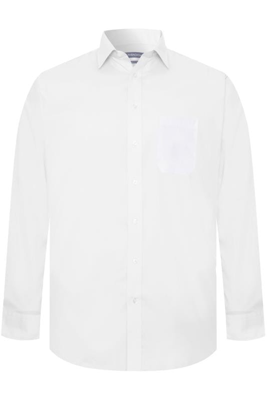 Plus Size Casual / Every Day DOUBLE TWO White Non-Iron Luxury Long Sleeve Formal Shirt